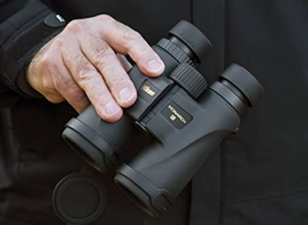 Nikon Monarch 5 10x42 Binoculars being held
