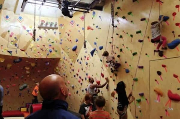 rock climbing wall with children