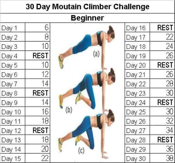 30 Day Mountain Climber Challenge