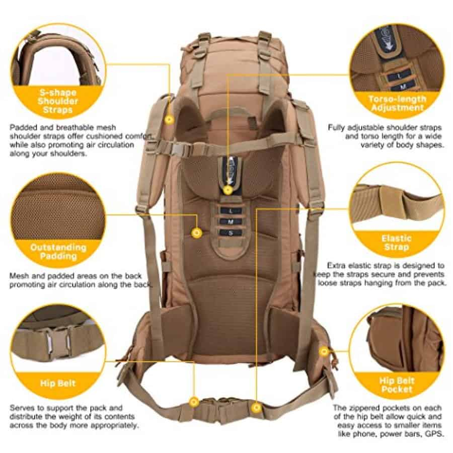 Mardingtop 65+10L Backpack Comfort and Padding