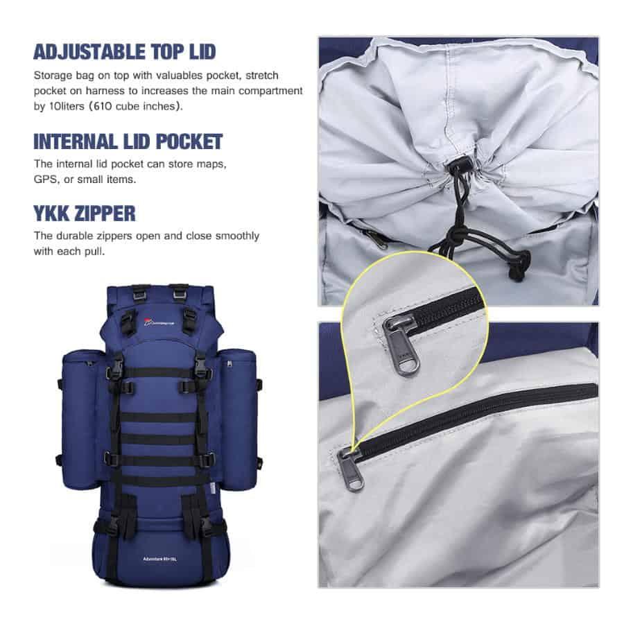 Mardingtop 65+10L Backpack Internal Space